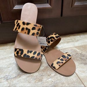 NEW J Crew Calf Hair Easy Summer Slide Sandal 8